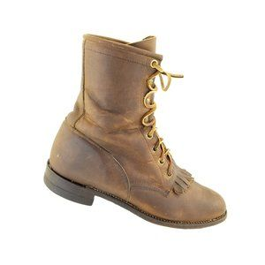 Justin L0575 Brown Oiled Leather Kiltie Lacer West